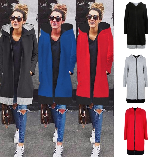 Women Long Hooded Sweatshirts Coat Contrast Casual Pockets Zipper Outerwear Hoodies JacketApparel &amp; Jewelry<br>Women Long Hooded Sweatshirts Coat Contrast Casual Pockets Zipper Outerwear Hoodies Jacket<br>