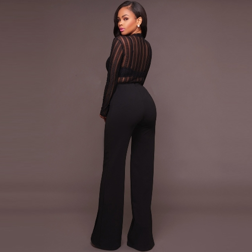 Women Sexy Bodysuit Long Sleeves Jumpsuit Sheer Stripe Mesh Rompers High Neck Club One Piece Black/WhiteApparel &amp; Jewelry<br>Women Sexy Bodysuit Long Sleeves Jumpsuit Sheer Stripe Mesh Rompers High Neck Club One Piece Black/White<br>