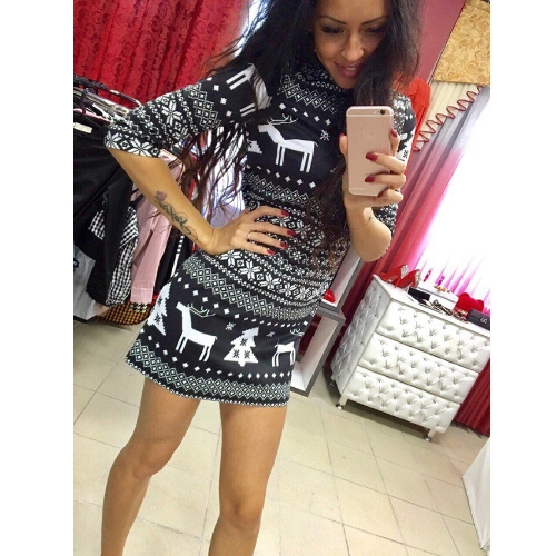 New Women Autumn Winter Mini Dress Christmas Print Santa Reindeer Tree Snowflake Casual Xmas Dress Red/BlackApparel &amp; Jewelry<br>New Women Autumn Winter Mini Dress Christmas Print Santa Reindeer Tree Snowflake Casual Xmas Dress Red/Black<br>