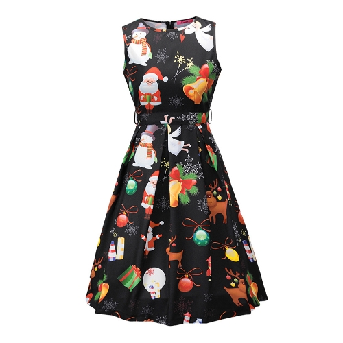 Women Christmas Santa Claus Printed Sleeveless Dress O Neck A-Line Xmas Knee-Length DressApparel &amp; Jewelry<br>Women Christmas Santa Claus Printed Sleeveless Dress O Neck A-Line Xmas Knee-Length Dress<br>