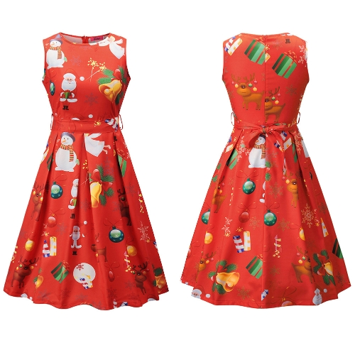 Women Christmas Santa Claus Printed Sleeveless Dress O Neck A-Line Xmas Knee-Length DressApparel &amp; Jewelry<br>Women Christmas Santa Claus Printed Sleeveless Dress O Neck A-Line Xmas Knee-Length Dress<br>
