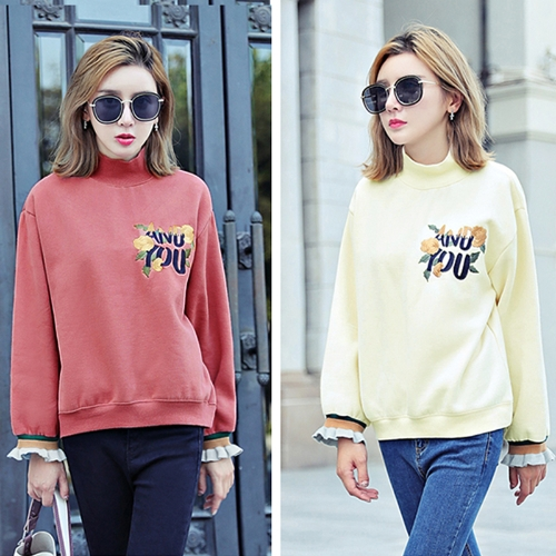 Chic Women Hoodies Sweatshirt Retro Floral Embroidery High Neck Long Sleeve Loose Pullover Tops Beige/RedApparel &amp; Jewelry<br>Chic Women Hoodies Sweatshirt Retro Floral Embroidery High Neck Long Sleeve Loose Pullover Tops Beige/Red<br>