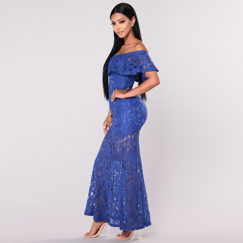 New Sexy Women Floral Lace Dress Ruffled Off Shoulder Slim Bodycon Maxi Long Cocktail Party Dress Yellow/Royal BlueApparel &amp; Jewelry<br>New Sexy Women Floral Lace Dress Ruffled Off Shoulder Slim Bodycon Maxi Long Cocktail Party Dress Yellow/Royal Blue<br>
