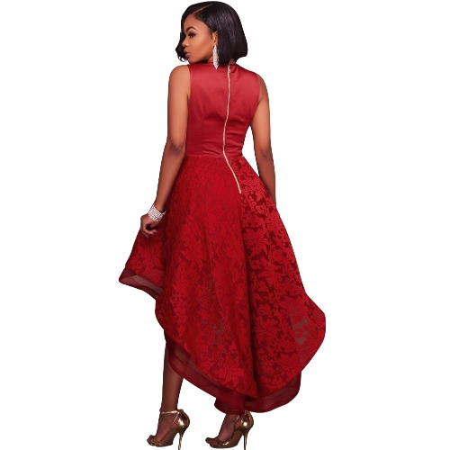 Women High Low Hem Evening Dress Embroidered Lace Deep V-Neck Sleeveless Cocktail Party Prom Gowns DressApparel &amp; Jewelry<br>Women High Low Hem Evening Dress Embroidered Lace Deep V-Neck Sleeveless Cocktail Party Prom Gowns Dress<br>