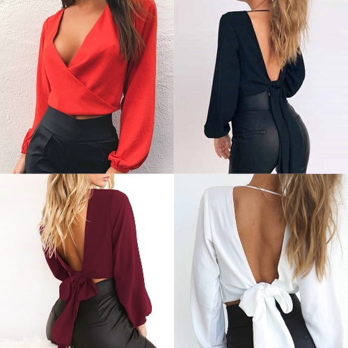 Sexy Women Blouse Long Sleeves V-Neck Bandage Solid Casual Elegant Crop Top ShirtApparel &amp; Jewelry<br>Sexy Women Blouse Long Sleeves V-Neck Bandage Solid Casual Elegant Crop Top Shirt<br>