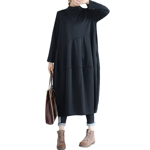 Women Large Size Dress Big Size Straight Stand Collar Long Sleeve Solid Office Loose DressApparel &amp; Jewelry<br>Women Large Size Dress Big Size Straight Stand Collar Long Sleeve Solid Office Loose Dress<br>