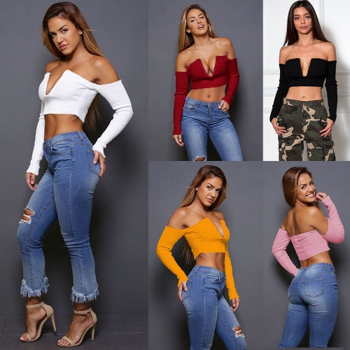 Sexy Winter Women Ribbed Knit Cropped Top Off the Shoulder Deep V Neck Long Sleeves Short SweaterApparel &amp; Jewelry<br>Sexy Winter Women Ribbed Knit Cropped Top Off the Shoulder Deep V Neck Long Sleeves Short Sweater<br>