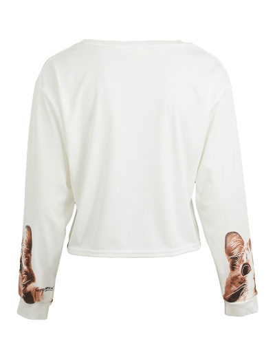 Women Loose T-shirt Cat Print Drop Shoulder Round Neck Long Sleeve Casual Short Tops WhiteApparel &amp; Jewelry<br>Women Loose T-shirt Cat Print Drop Shoulder Round Neck Long Sleeve Casual Short Tops White<br>