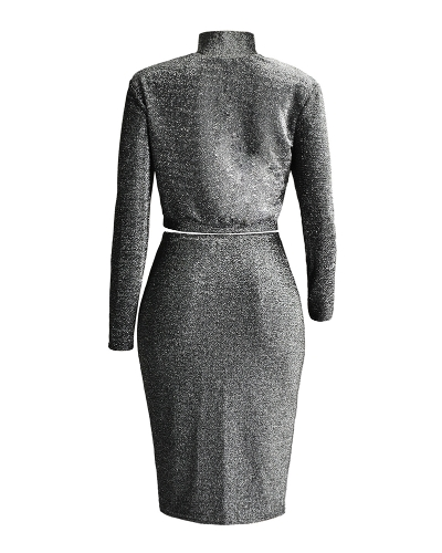 Sexy Women Two-Piece Set Dress Sequined Silver and Black Mini Skirt Nightclub Party Bodycon Pencil Skirt BlackApparel &amp; Jewelry<br>Sexy Women Two-Piece Set Dress Sequined Silver and Black Mini Skirt Nightclub Party Bodycon Pencil Skirt Black<br>