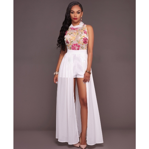 Sexy Women Jumpsuit Sheer Mesh Floral Embroidery Sleeveless Maxi Skirt Shorts Overalls Romper Elegant Casual PlaysuitApparel &amp; Jewelry<br>Sexy Women Jumpsuit Sheer Mesh Floral Embroidery Sleeveless Maxi Skirt Shorts Overalls Romper Elegant Casual Playsuit<br>