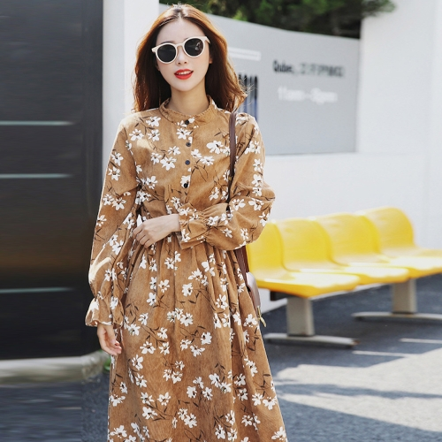 New Autumn Winter Women Vintage Print Dress Elastic Waist Stand Collar Long Sleeve Corduroy DressApparel &amp; Jewelry<br>New Autumn Winter Women Vintage Print Dress Elastic Waist Stand Collar Long Sleeve Corduroy Dress<br>