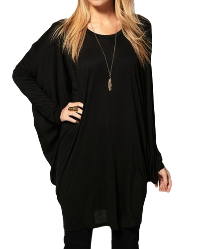 Chic Women Over Size T-Shirt Batwing Long Sleeve Knit Loose Tops Shirt Black/GreyApparel &amp; Jewelry<br>Chic Women Over Size T-Shirt Batwing Long Sleeve Knit Loose Tops Shirt Black/Grey<br>