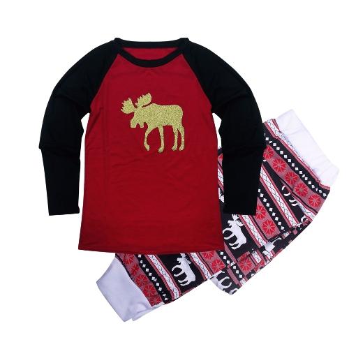 Donna Natale Famiglia Look Pigiama Renna Famiglia Corrispondenza Famiglia Padre Madre Bambini Baby T-Shirt Pantaloni Set Rosso