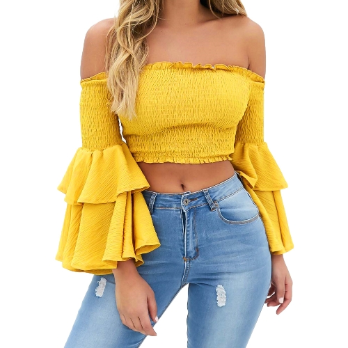 Fashion Women Off Shoulder Flare Sleeve Crop Top Shirring Layered Ruffle Sexy Backless Cropped Top Tee Red/YellowApparel &amp; Jewelry<br>Fashion Women Off Shoulder Flare Sleeve Crop Top Shirring Layered Ruffle Sexy Backless Cropped Top Tee Red/Yellow<br>