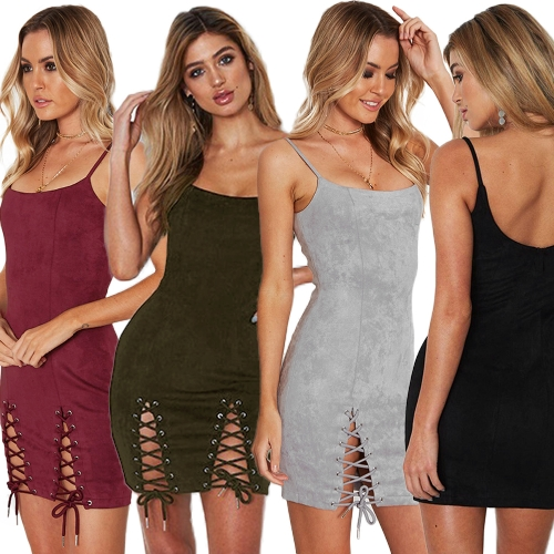 Women Lace-up Suede Dress Sleeveless Spaghetti Strap Cut Out Cami Bodycon Bandage Mini Party DressApparel &amp; Jewelry<br>Women Lace-up Suede Dress Sleeveless Spaghetti Strap Cut Out Cami Bodycon Bandage Mini Party Dress<br>