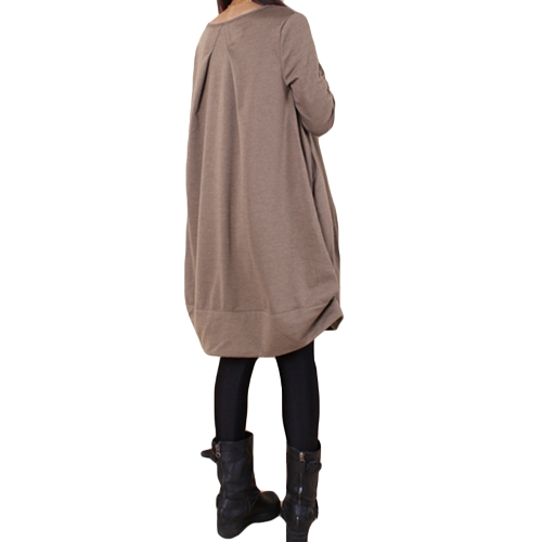 New Autumn Women Casual Loose Baggy Midi Dress O Neck Long Sleeve Oversized Pockets Asymmetrical DressApparel &amp; Jewelry<br>New Autumn Women Casual Loose Baggy Midi Dress O Neck Long Sleeve Oversized Pockets Asymmetrical Dress<br>