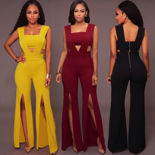Sexy Women Sleeveless Deep V Long Jumpsuit Tube Top Cutout Split Wide Legs Back Zipper Party Clubwear Romper PlaysuitApparel &amp; Jewelry<br>Sexy Women Sleeveless Deep V Long Jumpsuit Tube Top Cutout Split Wide Legs Back Zipper Party Clubwear Romper Playsuit<br>