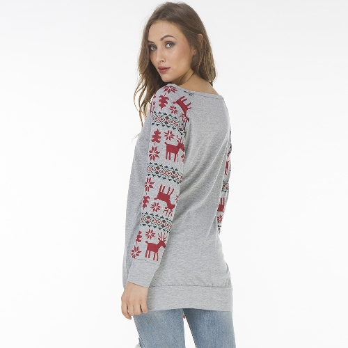 Fashion Women Christmas Deer Stripe Print T-Shirt O Neck Splicing Sleeve Casual Long Sweatshirt Top Tunic DressApparel &amp; Jewelry<br>Fashion Women Christmas Deer Stripe Print T-Shirt O Neck Splicing Sleeve Casual Long Sweatshirt Top Tunic Dress<br>