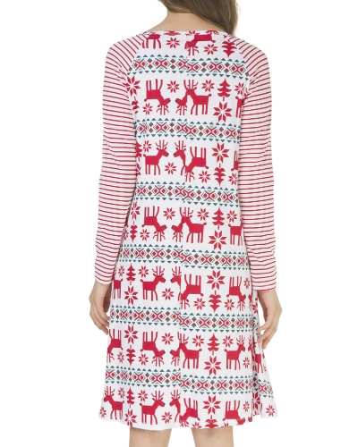 Women Christmas Long Sleeves Dress Striped Floral Print O Neck Raglan A-Line Dress Vestidos PajamasApparel &amp; Jewelry<br>Women Christmas Long Sleeves Dress Striped Floral Print O Neck Raglan A-Line Dress Vestidos Pajamas<br>