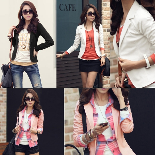 Women One Button Business Blazer Suit Long Sleeves Office Casual Leisure Coat Jacket Ladies Short OutwearApparel &amp; Jewelry<br>Women One Button Business Blazer Suit Long Sleeves Office Casual Leisure Coat Jacket Ladies Short Outwear<br>