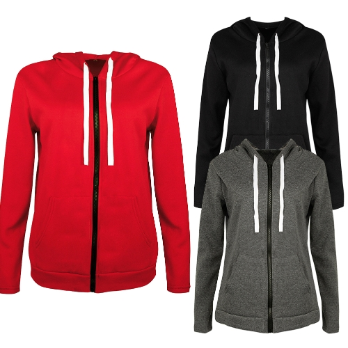 Fashion Women Hoodies Sweatshirt Coat Solid Long Sleeve Pocket Zip UP Hooded Outerwear Jacket Black/Red/Dark GreyApparel &amp; Jewelry<br>Fashion Women Hoodies Sweatshirt Coat Solid Long Sleeve Pocket Zip UP Hooded Outerwear Jacket Black/Red/Dark Grey<br>