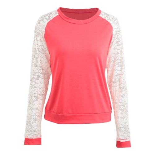 Women Lace Solid Shirts Crochet Splice Long Sleeve Slim Casual Basic Tops Casual BlouseApparel &amp; Jewelry<br>Women Lace Solid Shirts Crochet Splice Long Sleeve Slim Casual Basic Tops Casual Blouse<br>
