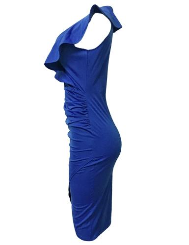 Sexy Women Midi Dress Ruffled Deep V Neck Sleeveless Asymmetric Solid Slim Bodycon Ruched Dress