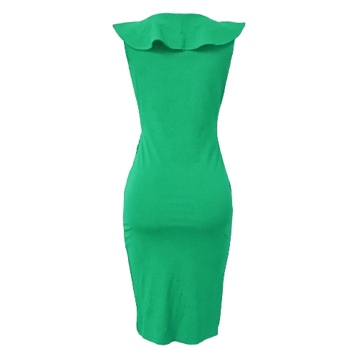 Sexy Women Midi Dress Ruffled Deep V Neck Sleeveless Asymmetric Solid Slim Bodycon Ruched DressApparel &amp; Jewelry<br>Sexy Women Midi Dress Ruffled Deep V Neck Sleeveless Asymmetric Solid Slim Bodycon Ruched Dress<br>