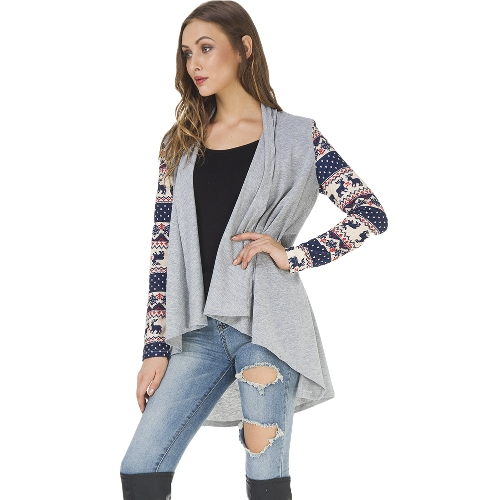 New Winter Christmas Long Sleeve Coat Cardigan Open Front Snow Deer Print Splice Casual OuterwearApparel &amp; Jewelry<br>New Winter Christmas Long Sleeve Coat Cardigan Open Front Snow Deer Print Splice Casual Outerwear<br>