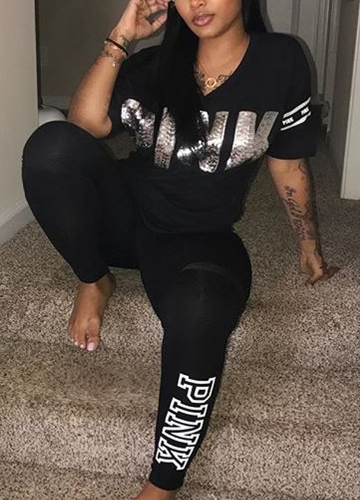 Women Top &amp; Pants Set V Neck Letter Printed Short SleeveApparel &amp; Jewelry<br>Women Top &amp; Pants Set V Neck Letter Printed Short Sleeve<br>