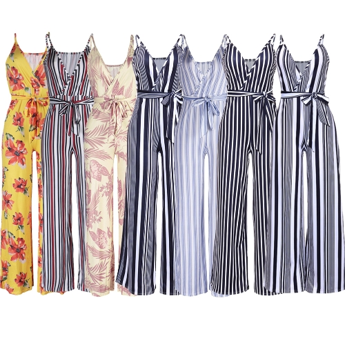 Sexy Women Slip Jumpsuit Deep V Neck Floral Striped Print Spaghetti Strap Wide Leg Pants Slim Playsuit RompersApparel &amp; Jewelry<br>Sexy Women Slip Jumpsuit Deep V Neck Floral Striped Print Spaghetti Strap Wide Leg Pants Slim Playsuit Rompers<br>