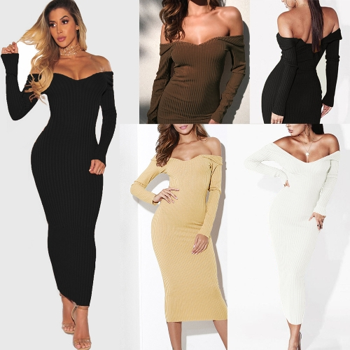 Sexy Women Midi Dress Deep V Neck Off-the-Shoulder Long Sleeve Solid Ribbed Slim Bodycon Dress Party ClubwearApparel &amp; Jewelry<br>Sexy Women Midi Dress Deep V Neck Off-the-Shoulder Long Sleeve Solid Ribbed Slim Bodycon Dress Party Clubwear<br>