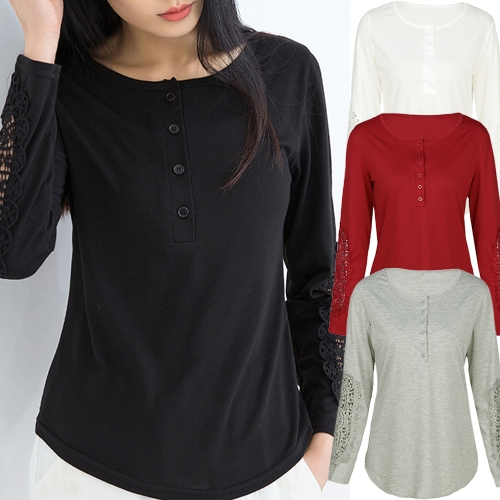 Casual Women Blouse Crochet Lace Splicing Long Sleeve Button Round Neck Hollow Solid T-Shirt TopsApparel &amp; Jewelry<br>Casual Women Blouse Crochet Lace Splicing Long Sleeve Button Round Neck Hollow Solid T-Shirt Tops<br>