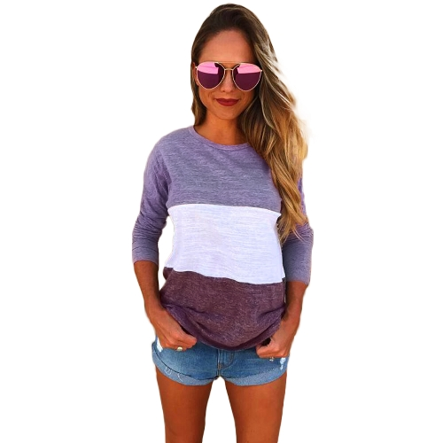 Women Long Sleeves T-Shirt Splicing Color Block O Neck Dropped Shoulder Casual Tees Pullovers TopsApparel &amp; Jewelry<br>Women Long Sleeves T-Shirt Splicing Color Block O Neck Dropped Shoulder Casual Tees Pullovers Tops<br>
