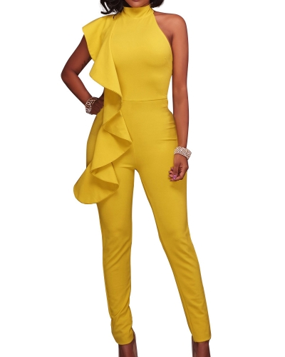 New Fashion Women Side Ruffle Cold Shoulder Jumpsuit High Neck Sleeveless Playsuit Slim Party Club Bodysuit RompersApparel &amp; Jewelry<br>New Fashion Women Side Ruffle Cold Shoulder Jumpsuit High Neck Sleeveless Playsuit Slim Party Club Bodysuit Rompers<br>