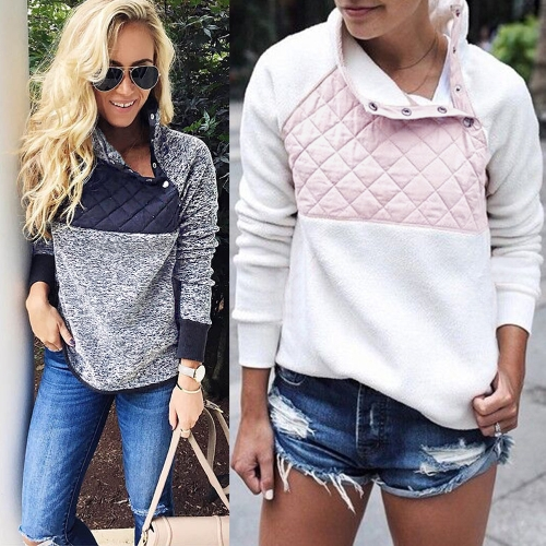 Women Fleece Sweatshirt High Neck Long Sleeve Button Casual Warm Pullover Top White/Dark BlueApparel &amp; Jewelry<br>Women Fleece Sweatshirt High Neck Long Sleeve Button Casual Warm Pullover Top White/Dark Blue<br>