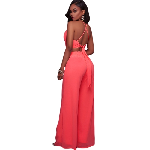 Women Cami Two Piece Set Halter Strap Crop Top Bandage Wide Leg Pants Set Party Nightclub Outfit Dark Blue/Pink/WhiteApparel &amp; Jewelry<br>Women Cami Two Piece Set Halter Strap Crop Top Bandage Wide Leg Pants Set Party Nightclub Outfit Dark Blue/Pink/White<br>