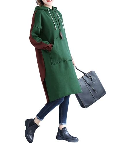 New Women Long Hooded Sweatshirt Color Block Long Sleeves Split Casual Loose Hoody Dress PulloverApparel &amp; Jewelry<br>New Women Long Hooded Sweatshirt Color Block Long Sleeves Split Casual Loose Hoody Dress Pullover<br>