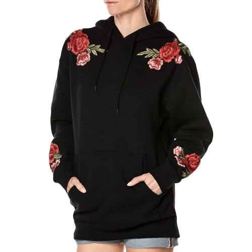 New Women Hooded Sweatshirt Floral Embroidery Long Sleeves Pockets Casual Loose Hoodies Top PulloverApparel &amp; Jewelry<br>New Women Hooded Sweatshirt Floral Embroidery Long Sleeves Pockets Casual Loose Hoodies Top Pullover<br>