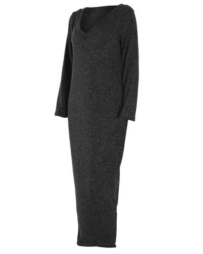 Winter Women Maxi Loose Knitted Sweater Dress Deep V Neck Long Sleeve Ladies Knitwear Casual Jumper DressApparel &amp; Jewelry<br>Winter Women Maxi Loose Knitted Sweater Dress Deep V Neck Long Sleeve Ladies Knitwear Casual Jumper Dress<br>