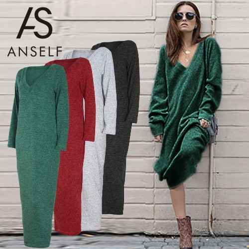 Winter Women Maxi Loose Knitted Sweater Dress Deep V Neck Long Sleeve Ladies Knitwear Casual Jumper DressApparel &amp; Jewelry<br>Winter Women Maxi Loose Knitted Sweater Dress Deep V Neck Long Sleeve Ladies Knitwear Casual Jumper Dress<br>