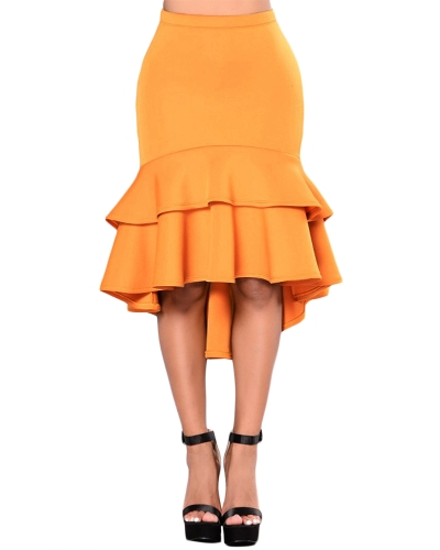 Plus Size Women Pencil Skirts Ruffles Layer Irregular Hem Elegant Office Lady Party Memaid Bodycon Skirt Black/YellowApparel &amp; Jewelry<br>Plus Size Women Pencil Skirts Ruffles Layer Irregular Hem Elegant Office Lady Party Memaid Bodycon Skirt Black/Yellow<br>