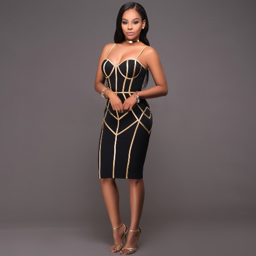 New Sexy Women Spaghetti Strap Dress Stripe Print Zipper Back Clubwear Cocktail Party Midi Dress BlackApparel &amp; Jewelry<br>New Sexy Women Spaghetti Strap Dress Stripe Print Zipper Back Clubwear Cocktail Party Midi Dress Black<br>