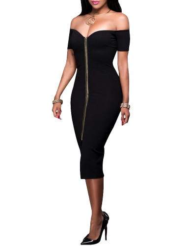 Sexy Women Off Shoulder Bodycon Dress Short Sleeve Solid Slim Split Midi Dress Party Clubwear Black/GreyApparel &amp; Jewelry<br>Sexy Women Off Shoulder Bodycon Dress Short Sleeve Solid Slim Split Midi Dress Party Clubwear Black/Grey<br>