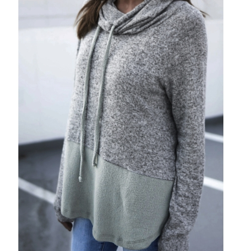 Women Warm Sweatshirt Drawstring High Neck Long Sleeve Pullover Loose Casual Jumper Top GreyApparel &amp; Jewelry<br>Women Warm Sweatshirt Drawstring High Neck Long Sleeve Pullover Loose Casual Jumper Top Grey<br>