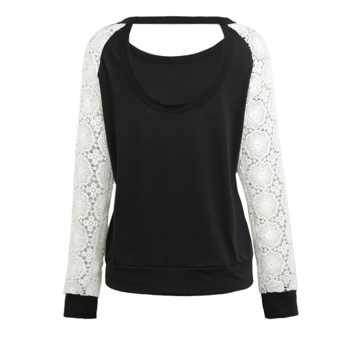 Women Crochet Shirt Long Sleeves Hollow Out Lace Loose Casual Pullover Top Backless T-Shirt Black/Beige/GreyApparel &amp; Jewelry<br>Women Crochet Shirt Long Sleeves Hollow Out Lace Loose Casual Pullover Top Backless T-Shirt Black/Beige/Grey<br>