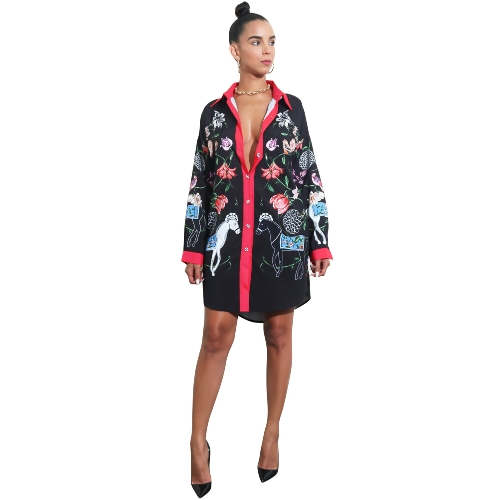 New Autumn Women Casual Floral Print Shirt Dress Buttons Long Sleeve Tunic Vintage Boho Beach Party DressApparel &amp; Jewelry<br>New Autumn Women Casual Floral Print Shirt Dress Buttons Long Sleeve Tunic Vintage Boho Beach Party Dress<br>