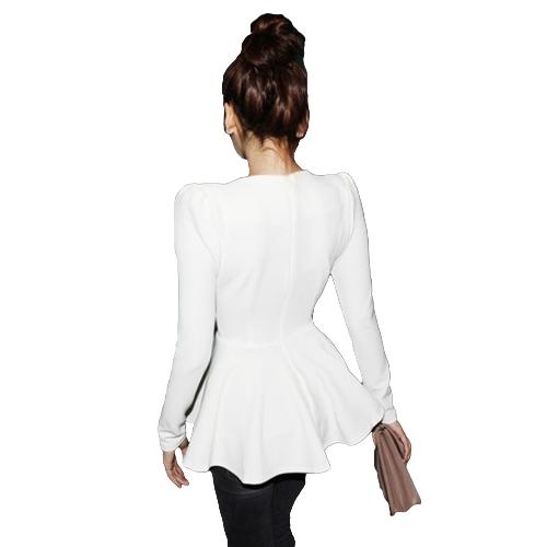 Women Tops V Neck Long Puff Sleeve Peplum Ruffle Hem Zipper Slim Fit Elegant South Korea T-shirtApparel &amp; Jewelry<br>Women Tops V Neck Long Puff Sleeve Peplum Ruffle Hem Zipper Slim Fit Elegant South Korea T-shirt<br>