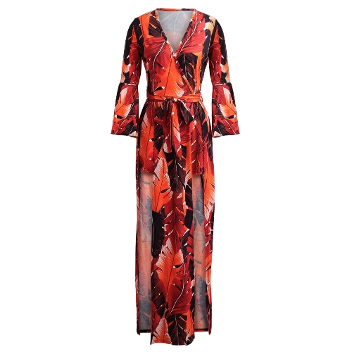 Sexy Women Deep V Neck Jumpsuit Leaves Print Belled 3/4 Sleeves High Low Dress Playsuit RompersApparel &amp; Jewelry<br>Sexy Women Deep V Neck Jumpsuit Leaves Print Belled 3/4 Sleeves High Low Dress Playsuit Rompers<br>
