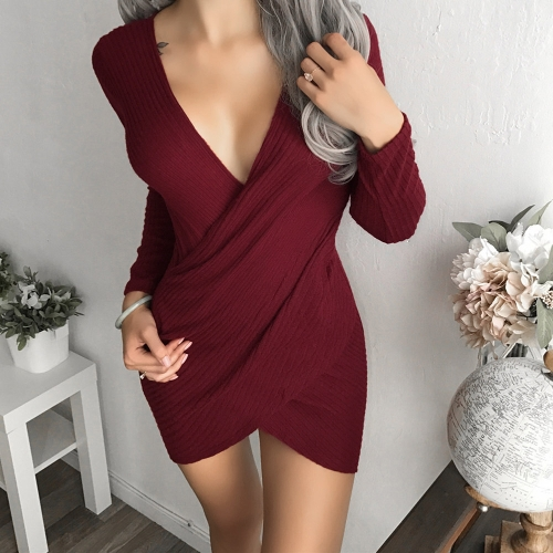 Sexy Women Dress Pencil Dress Solid Ribbed Deep V Drape Irregular Long Sleeve Mini Bodycon Club WearApparel &amp; Jewelry<br>Sexy Women Dress Pencil Dress Solid Ribbed Deep V Drape Irregular Long Sleeve Mini Bodycon Club Wear<br>